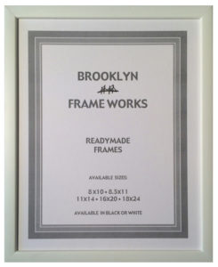 Ready made wood frame with opaque white finish